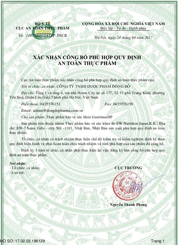 Chứng nhận lưu hành sản phẩmGastimunHPtại Việt Nam 1